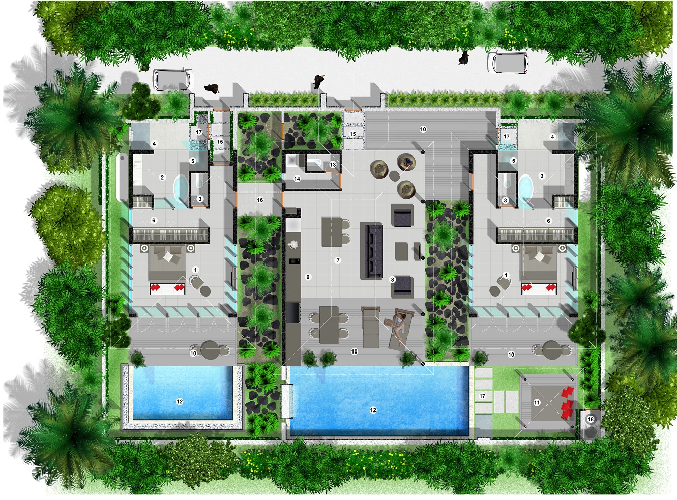Villa floor plan sinalei for Villa design plan